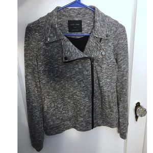 Grey Moto Jacket w/ Asymmetric Zipper - Small